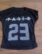Czarna bluzka napis Paris siateczka cyrkonie nietoperz xs s m