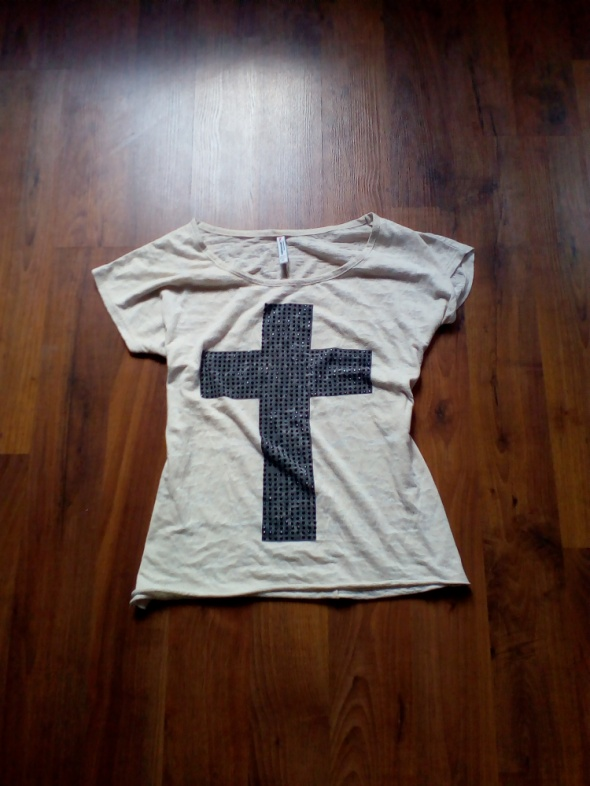 Kremowa bluzka z czarnym krzyżem Fishbone XS S M...