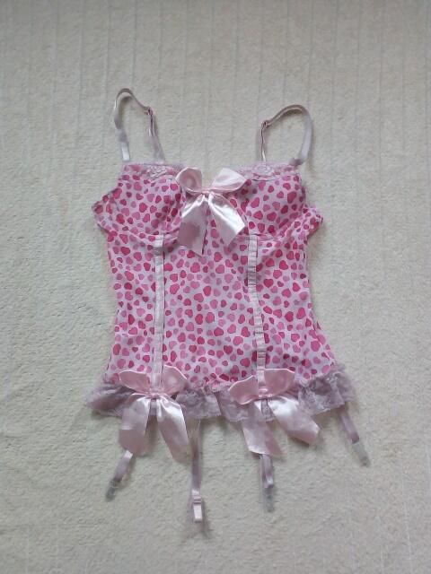 Słodki różowy Gorset Top do pończoch XS S M Sexy bielizna erotyczna
