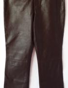 brązowe spodnie Marks&Spencer sztuczna skóra wysoki stan...