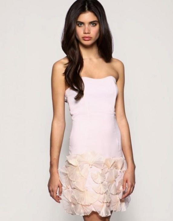48656fd443 Asos nude sukienka pudrowa origami kwiaty 3d w Suknie i sukienki ...