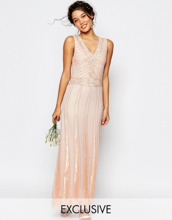42552aa3aa ASOS maxi pudrowa sukienka cekiny wesele 36 w Suknie i sukienki ...
