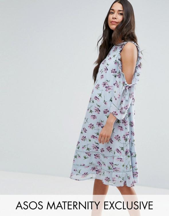 Asos maternity midi ciążowa sukienka kwiaty...