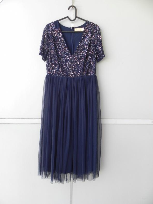 Maya Petite granatowa sukienka midi tiulowa cekinowa 40