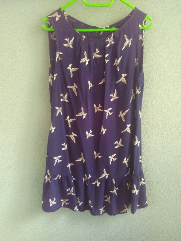 F&F piękna granatowa sukienka w ptaszki XL 42...