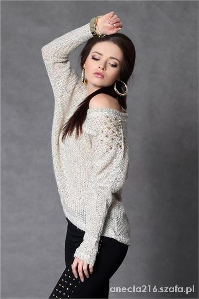 Asymetryczny sweterk kimono ćwieki dżety nude...
