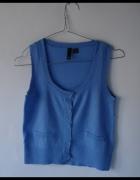 niebieska bluzka bez rękawów kamizelka H&M...