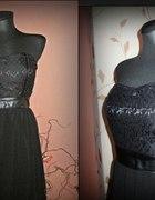 Sukienka koronka szyfon CZARNA S...