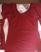 Bluzka z falbaną i wycięciami na rękawach bordowa