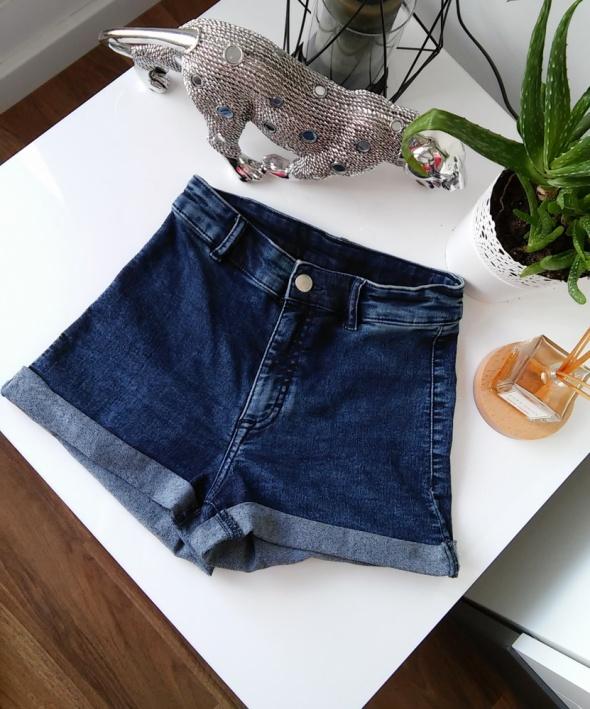 dżinsowe elastyczne szorty wysoki stan H&M