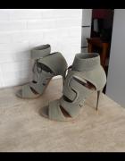 Zara nowe szpilki khaki paski sandały 40...