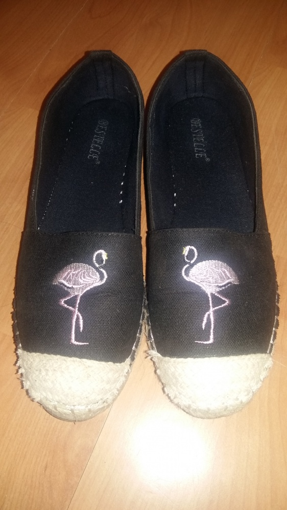 Czarne espadryle we flamingi 38 39