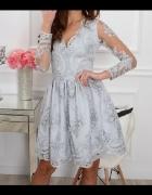 sukienka koronka gipiura siateczka szara s...