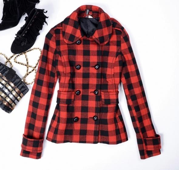 Czerwono czarny płaszcz h&m xxs 32 xs 34