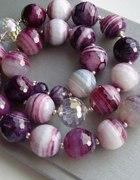 Agaty w odcieniach purpury i srebro