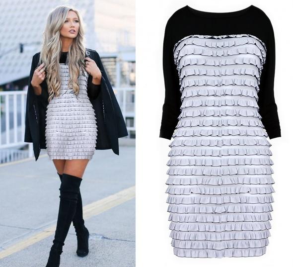 Sukienka siwo czarna dłuższy rękawek rozm S