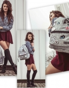 Plecak jeansowy vintage z naszywkami...