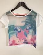 Luźna koszulka z papugami GRATIS PROPONOWANA KOSZULKA POD SPÓD