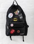 Czarny plecak szkolny vintage dla dziewczyny HANDMADE