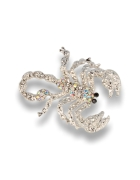 Srebrna broszka damska z cyrkoniami skorpion
