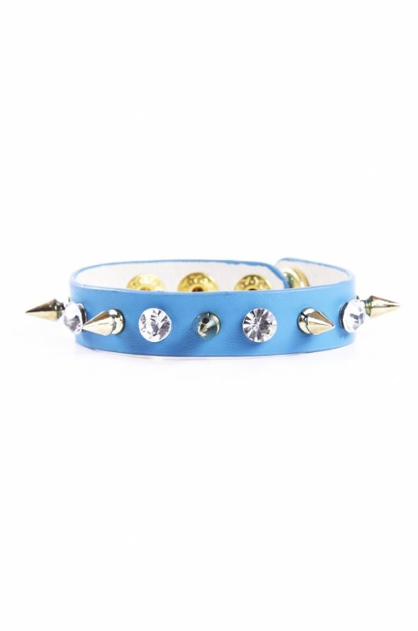 Bransoletki Niebieska bransoletka z kryształkami i ćwiekami