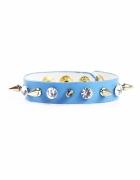 Niebieska bransoletka z kryształkami i ćwiekami
