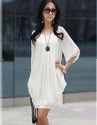 KIM sliczna biała zwiewna sukienka 36 S dwuwarstwo...