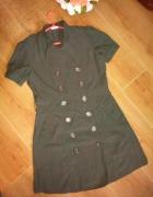 Avanti brązowa sukienka szmizjerka 40 L jak płaszc...