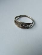 stary srebrny pierścionek filigran próby