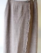 Spódnica Frędzle Brązowa L 40 Next Kratka Chanelka