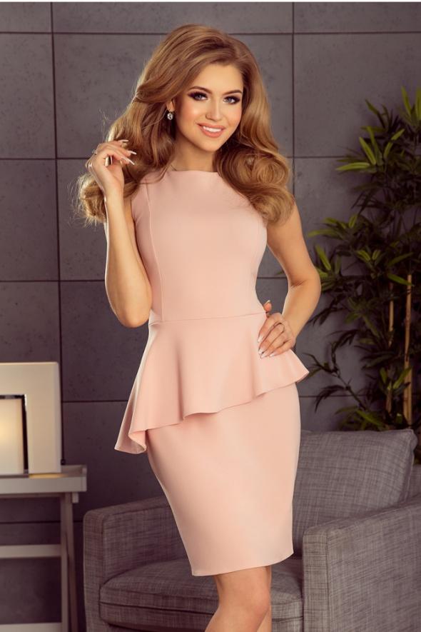 Suknie i sukienki sukienka pastelowy róż z baskinką mini