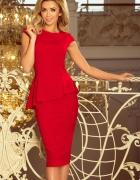 Sukienka midi z baskinką czerwona...