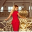 Sukienka midi z baskinką czerwona