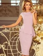 Sukienka midi z baskinką liliowa fiolet...