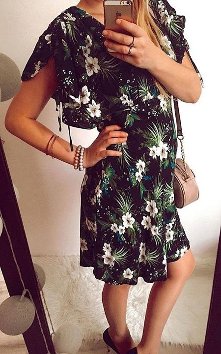 Suknie i sukienki Sukienka Damska w kwiatki L