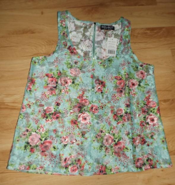 Nowa bluzka w kwiaty zip floral zip S miętowa...