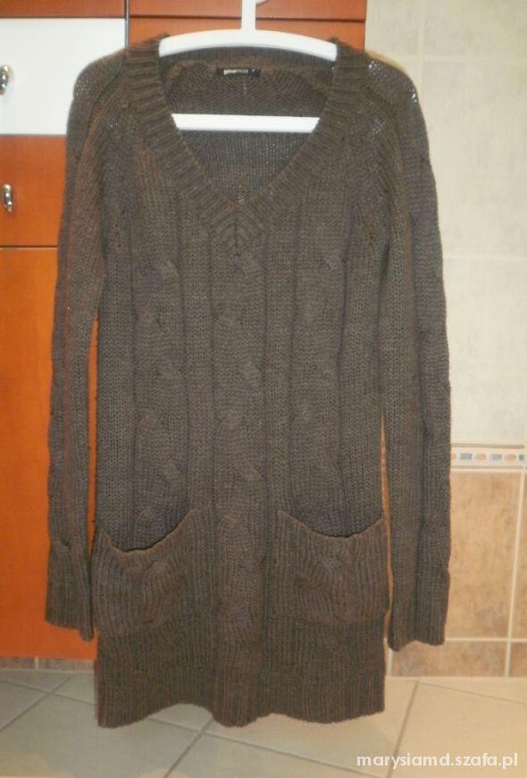 Gina Tricot brązowy długi sweter kieszenie...