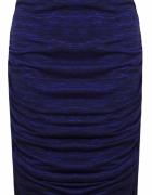 Kobaltowa cieniowana ołówkowa spódnica drapowana