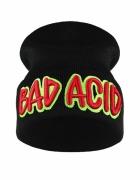 Czarna czapka beanie z haftem napis BAD ACID