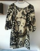 wzorzysta sukienka S 36 sztywna rękaw 3 4...