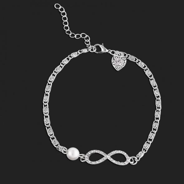 bransoletka nieskończoność cyrkonie perła