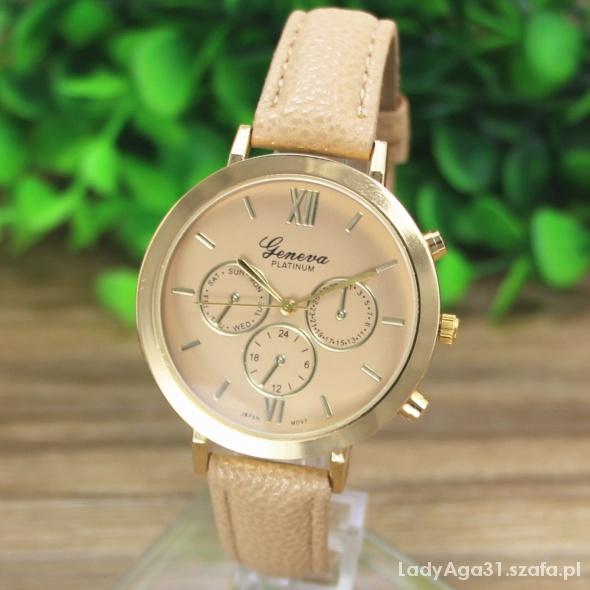 Zegarki zegarek geneva platinum beż