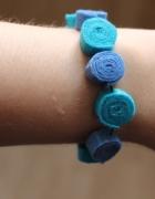 Piękna niebieska bransoletka filc hand made