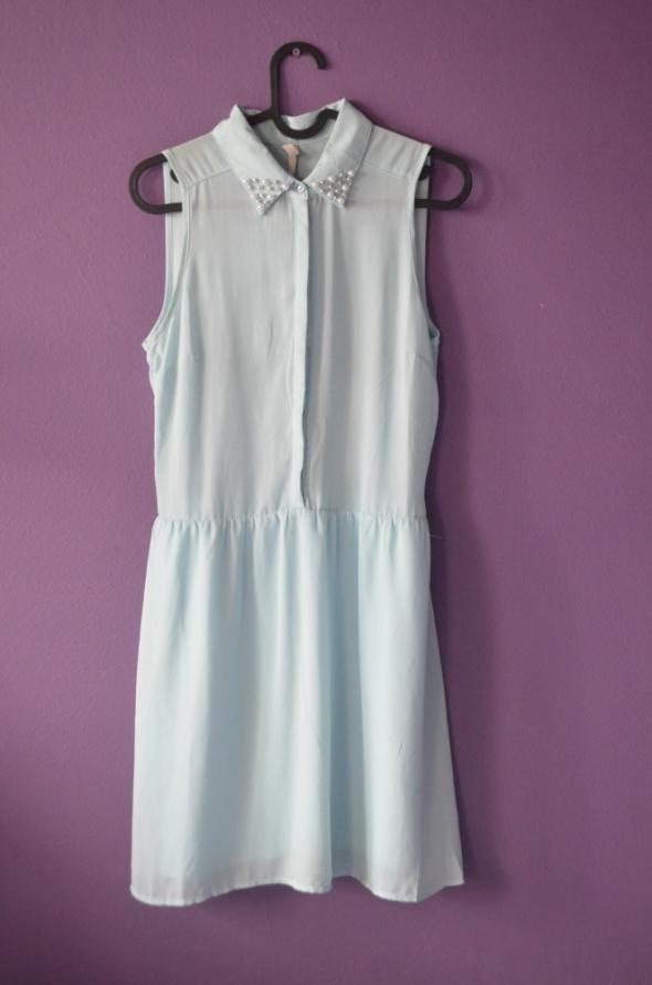 miętowa sukienka kołnieżyk 34 36 XS S H&M