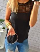 czarna modna bluzka koronka