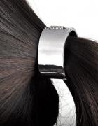 wyprzedaż gumka do włosów metalowa koło srebrna