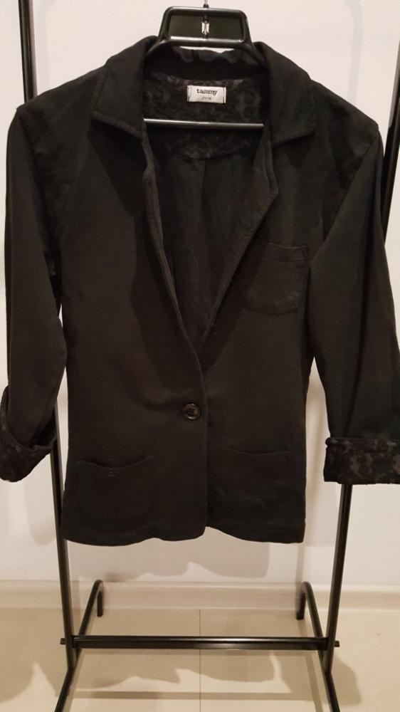 czarna marynarka blazer XS S koronka