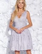 Sukienka z gipiurą granatowa szara