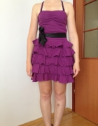 Sukienka falbanki XS S M 34 36 38 falbaniasta koktajlowa fiolet...