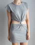 Topshop szara sukienka z wycięciem...